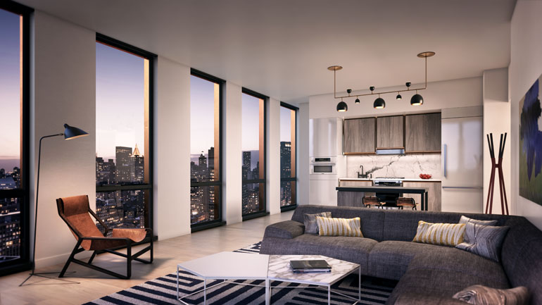 Each Residence Features Floor To Ceiling Windows, And Custom Kitchens,  Lighting And Oak Floors.