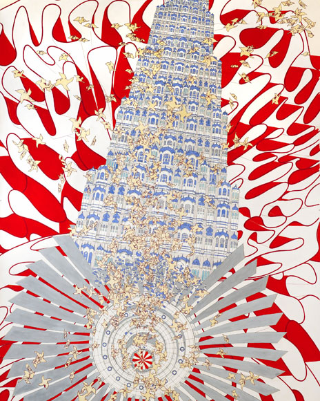 Alice Aycock, Rock, Paper, Scissors (India '07), 2010. Watercolor and ink on paper. 95 11/16 x 59 ½. Miami Art Museum. Gift of Jerry Lindzon.