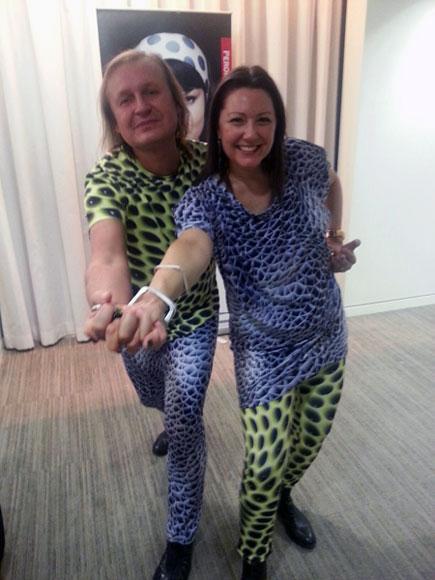 Mac Stopa and Dana Grizwin of Massive Design dressed in a Dauphin pattern.