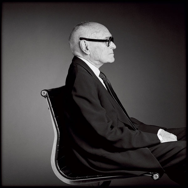 Greg Gorman's 2000 portrait of Philip Johnson is the exhibition's central piece