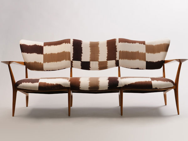 Ico and Luisa Parisi's sofa reupholstered in Weinrib's Multi-Brown Stripe Ikat.