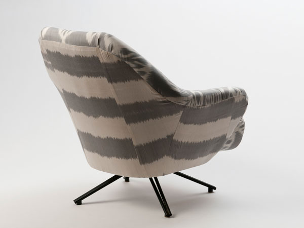 Osvaldo Borsani's P32 lounge chair reupholstered in Weinrib's Dove Remy and Dove Stripe Ikat.