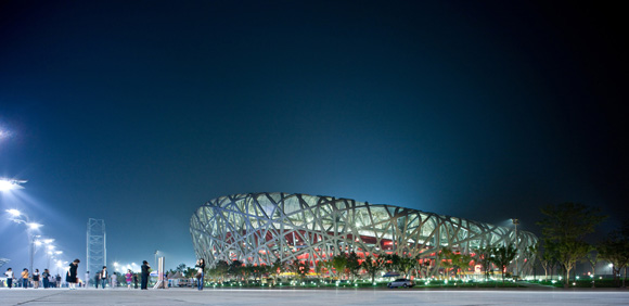 "The Beijing National Stadium, or the ""Bird's Nest,"" designed by the trio for the 2008 Summer Olympics. © Iwan Baan"