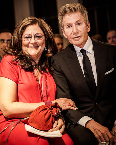 Fern Mallis with designer Calvin Klein. Photo by Josh Wong