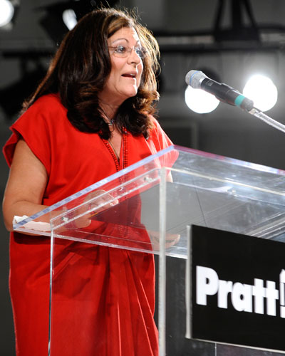 Fern Mallis at the podium after accepting her award. Photo by Clint Spaulding/Patrick McMullan.