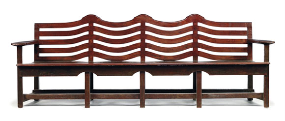 Garden Bench for Hill House, stained oak, ca. 1912. Charles Rennie Mackintosh (1868-1928).