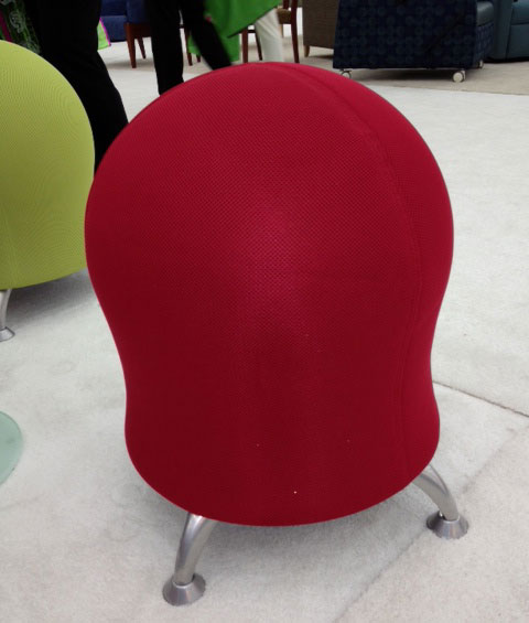 Safco's Zenergy stool is designed around a Yoga ball that you pump up for max bounce... and fun.