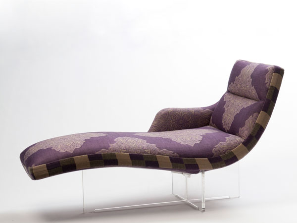 Vladimir Kagan's Erica chaise lounge reupholstered by Madeline Weinrib in Lavender Egerton Jacquard.