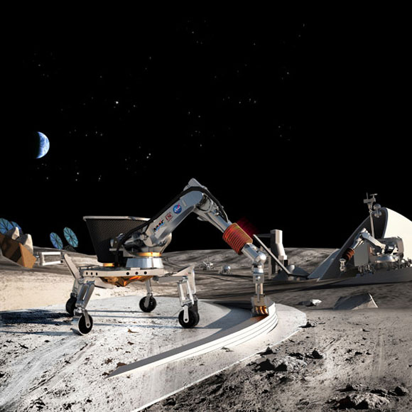 """Behrokh Khoshnevis """"Contour Crafting"""", 2012, Layered fabrication technology for automated construction. Shown: NASA Poster of Lunar Construction. Photo courtesy of Dr. Behrokh Khoshnevis."""