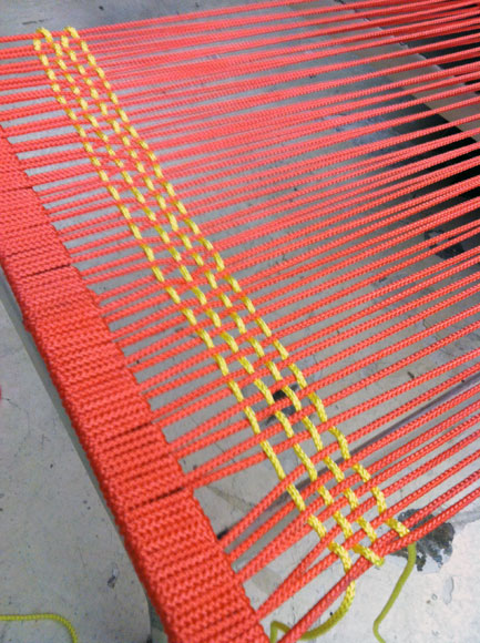 """Suzanne Tick will incorporate techniques used in recent work, which includes a series of weavings using recycled Mylar balloons that have washed up on the shores of Fire Island, to refurbish a 1966 Richard Schultz lounge chair in a piece called """"Faith (8/66)."""""""