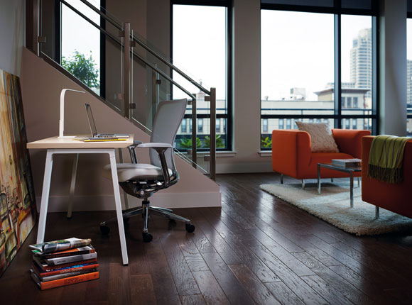 Haworth Reside Angled Leg table and a Zody Task chair. Photo courtesy Haworth.<br>