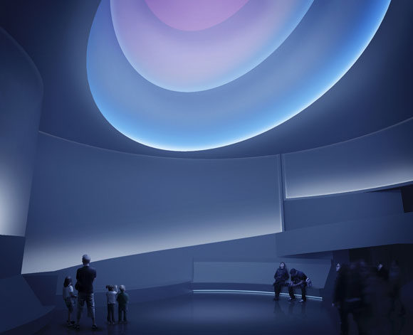 James Turrell, rendering of installation for the Solomon R. Guggenheim Museum, New York, 2012, artificial and natural light. Image by Andreas Tjeldflaat.