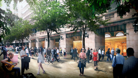 Foster + Partners would remake Vanderbilt Avenue into a pedestrian-only walkway. Courtesy of Foster + Partners.