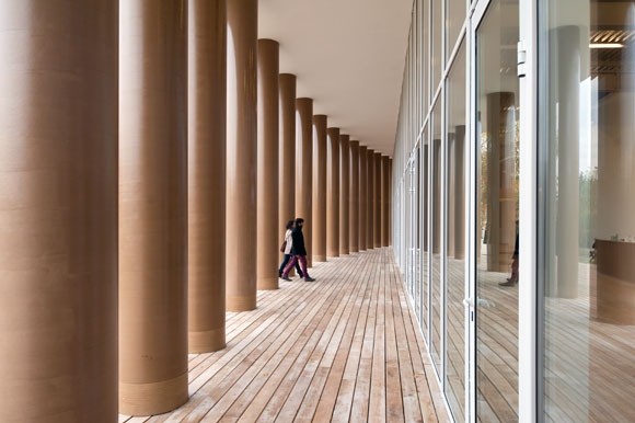 The columns of Shigeru Ban's cardboard structure reach nearly 25 feet high and were made from cardboard recycled locally in St. Petersburg, Russia.