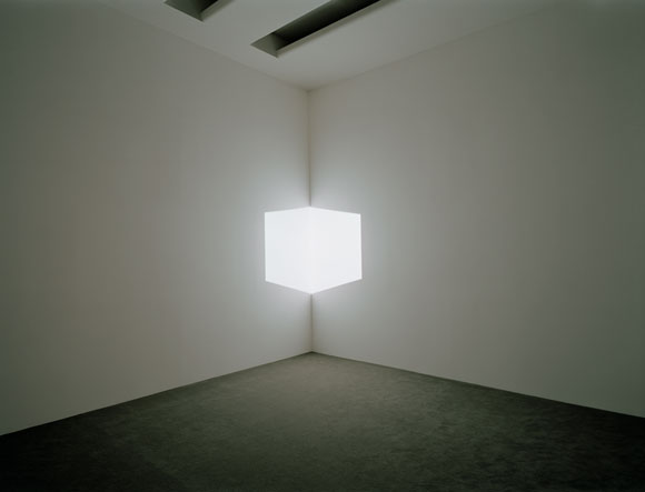 James Turrell's Afrum I (White), 1967, Projected light, courtesy of Solomon R. Guggenheim Museum, New York, Panza Collection, Gift 92.4175. Photography by David Heald.