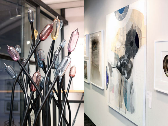 """Reaching"" by Joseph Corcoran (vinyl, blown glass and neon) and ""Panoramic"" by Joan Belmar (acrylic, gouache and ink on canvas) each sold for $4,000."