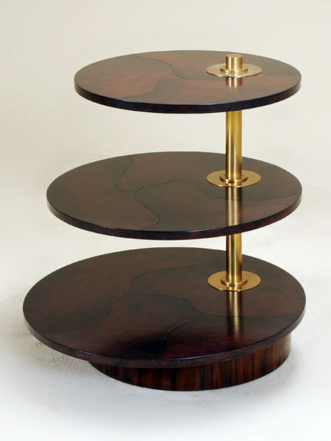 Celerie Kembleu0027s Rosewood Veneer Table With Lacquered Leather And Rotating  Shelves For Henredon.