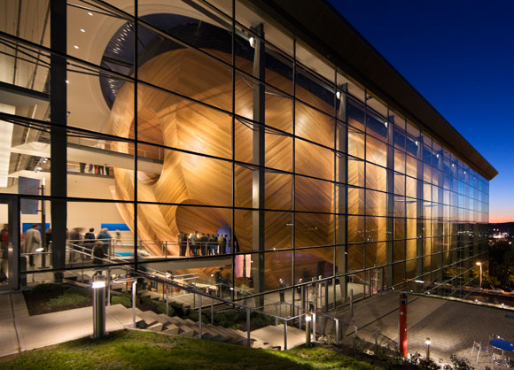 Grimshaw's Experimental Media and Performing Arts Center (EMPAC) in Troy, New York. Photo by Peter Aaron/ESTO.