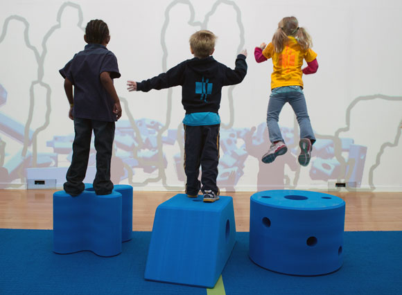 Students from the Two Rivers Public Charter School play with Imagination Playground blocks. Photo by Kevin Allen.