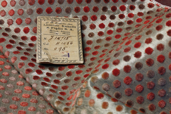 Rubelli's Punteggiato fabric, used on Molteni&C's Ponti armchair.