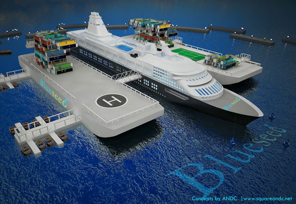 A rendering of a repurposed cruise ship stabilized by barges and moorings.