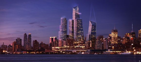 The Hudson Yards development, as rendered here, is slated to be completed in 2015.