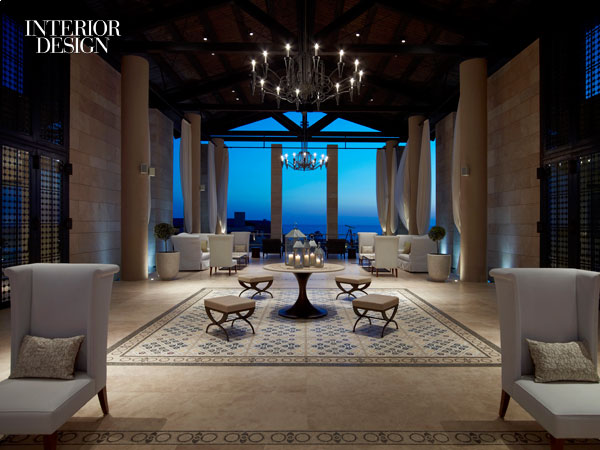 MKV Design's Romanos Luxury Collection lobby at Navarino Dunes. Photo by Niall Clutton.