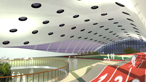 "Inside Blueseed's proposed ""modern"" hull."