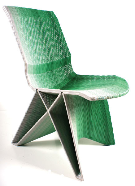 Dirk Vander Kooij, Endless Pulse Low Chair, 2010, Recycled plastics, pigment 31 1/2 x 16 9/16 x 29 15/16 in. (80 x 42 x 76 cm). Photo courtesy of Wabnitz Editions Ltd. Photo: ©Dirk Vander Kooij.