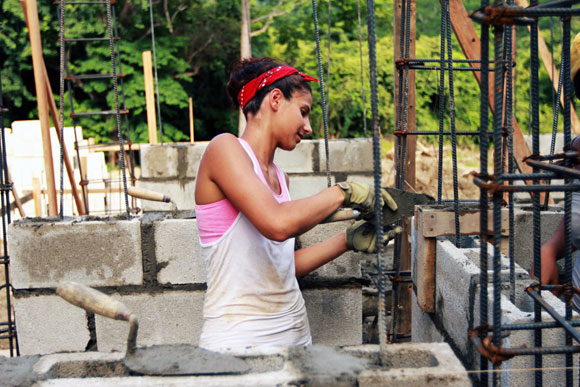 A student from NYIT at work on sLAB initiative's recycling center in Nosara, Costa Rica.